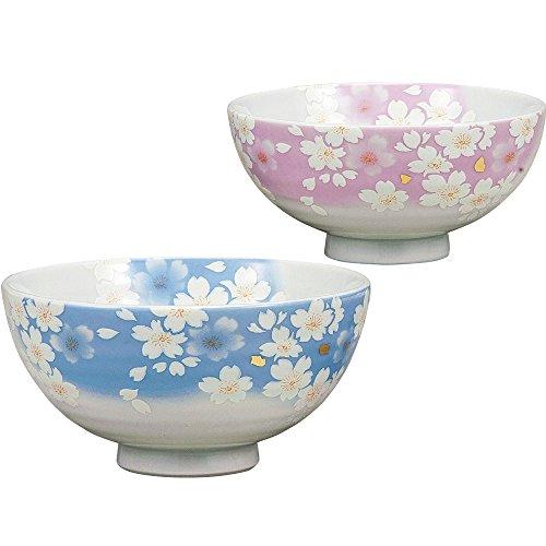 九谷焼 陶器 夫婦茶碗 金箔花の舞