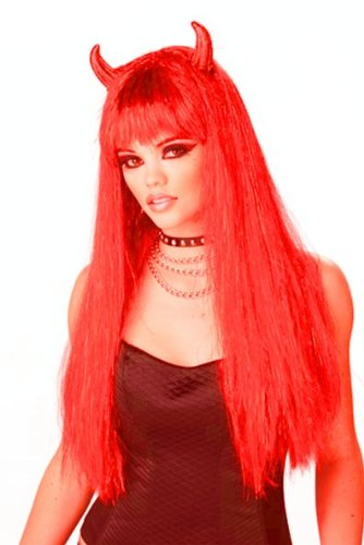 Sexy Devil Wig with Horns ideal for Fancy Dress Parties