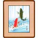 【佐藤晋伍 作画】「金運大昇鯉 F6和額」(57cm×48cm)