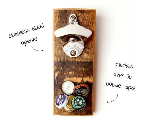 Magnetic Bottle Opener - Reclaimed Wood Bourbon Barrel (Coca Cola Bar Fridge compare prices)