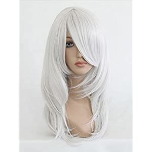 Sexy Women Shoulder Length Full Wigs Party Hair Cosplay Wig (White) NW03-2