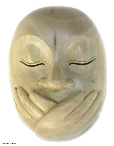 NOVICA Decorative Hibiscus Wood Mask, Beige, 'Wordless'