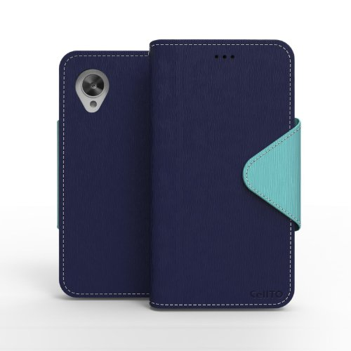 CellTo Google Nexus 5 Case [Navy Blue/ Mint] Case Premium Wallet Case [Slim Ultra Fit] Diary Cover w/ ID Pocket Top Quality [Made in Korea] (Phone Cover Nexus 5 compare prices)