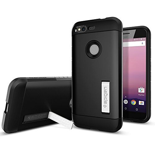 Spigen-Tough-Armor-Google-Pixel-Case-with-Kickstand-and-Heavy-Duty-Air-Cushion-Technology-Protection-for-Google-Pixel-2016-Black