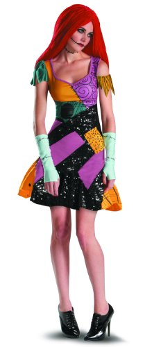 Disguise Tim Burtons The Nightmare Before Christmas Sally Glam Adult Costume, Yellow/Black/Purple, Large/12-14