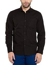 Highlander Men's Casual Shirt (13110001471455_HLSH008948_X-Large_Black)