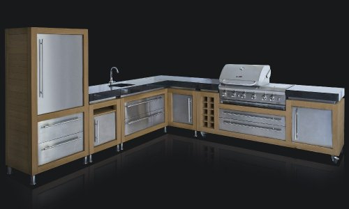 Ingarden Outdoor Kitchen.L-Shaped Oak ,Stainless Steel & Granite Outdoor Kitchen Units With Bbq & Sink