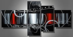 Ode-Rin Hand Painted Oil Paintings Gift Color Block 4 Panels Wood Inside Framed Hanging Wall Decoration