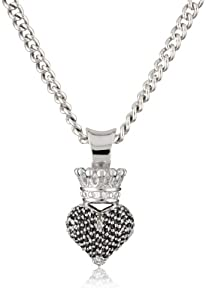 """King Baby 18"""" Curb Link Chain with 3D Pave Black Cubic Zirconia Crowned Heart Pendant"""