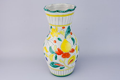 Retro Shabby Chic VASE Floral Pottery Ovoid Decor Vintage Yellow Tall Gift Unique 1970s Italian LS (Italian Pottery Urn compare prices)
