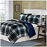 Comfort Classics Parkston Down Alternative Comforter Mini Set, Navy, Twin, X-Large