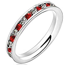 buy Womens 3Mm White Gold Stainless Steel Channel Set Red Ruby Cz Inlay Ring Engagement Wedding Silver Band