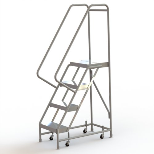 Tri-Arc WLAR104164 4-Step All-Welded Aluminum Rolling Industrial & Warehouse Ladder with Handrail, Ribbed Tread, 16-Inch Wide Steps