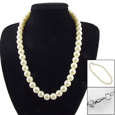 Rosallini Women Lobster Hook Round Faux Pearl Princess Necklace White