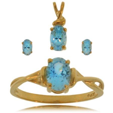 Blue Topaz Ring W/ Earrings Set 10K Gold Girls Ladies