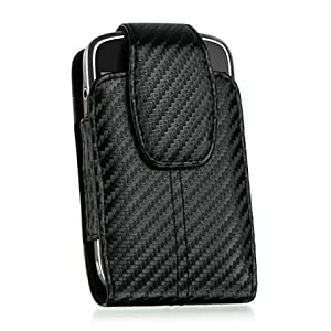 Black Vertical Carbon Fiber Design Case w/ Belt Clip for HTC Droid Incredible + Screen Protector