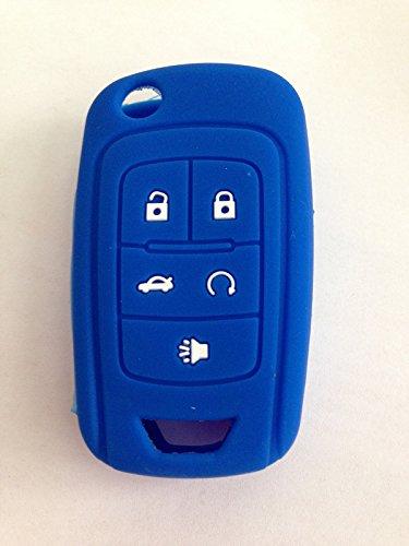 Dark Blue Silicone Cover Holder Key Jacket for Chevrolet Camaro Cruze Volt Equinox Spark Malibu Sonic Flip Remote Key Case Shell 5 BTN BK (Chevy Cruze Auto Start compare prices)