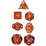 Polyhedral 7-Die Translucent Chessex Dice Set - Orange