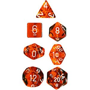 Polyhedral 7-Die Translucent Chessex Dice Set - Orange