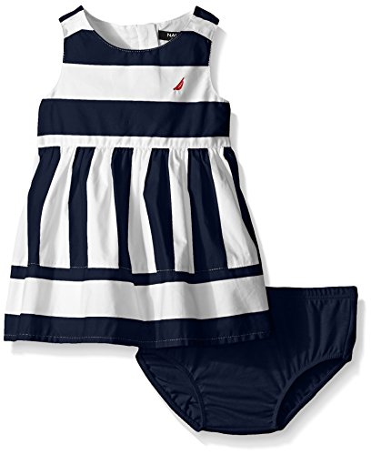 Nautica Girls' Multi-Directional Stripe Dress, Navy, 2T