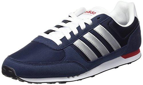 adidas Neo City Racer Zapatillas de deporte, Hombre, Azul / Plateado / Blanco, 40
