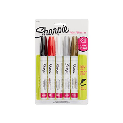 sharpie-medium-point-oil-based-opaque-paint-markers-5-pkg-black-gold-red-silver-and-white