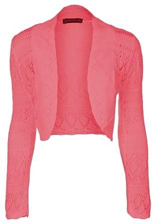 Fashion Victim, Ladies Long Sleeve Crochet Bolero Shrug, Cardigan (Coral)