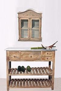 pflanztisch gartentisch antik look im mediteranen stil mit zinkplatte k che haushalt. Black Bedroom Furniture Sets. Home Design Ideas