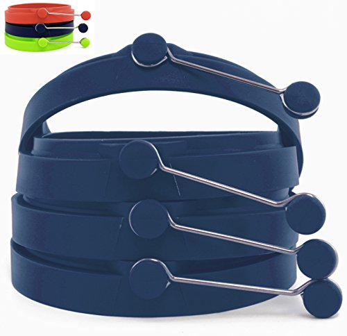 Fast Food Style Non-stick Silicone Egg and Pancake Rings, Set of Four (4) (Navy Blue)