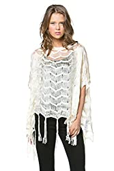 [The Classic Brand] Creme Fringe Sweater Poncho Small