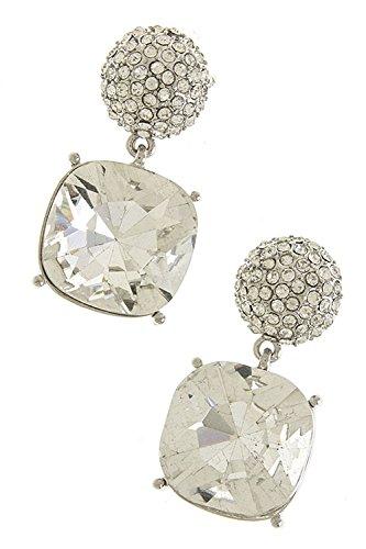 Karmas Canvas Crystal Drop Earrings (Clear/Silver) front-197042