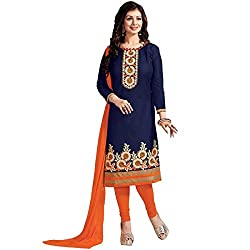 Awesome Fab Blue & Orange Unstitched Dress Material
