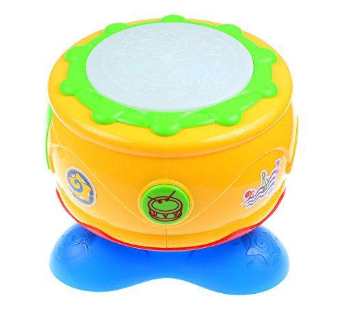 Big Dragonfly Happy Children's Fun Educational Toys 360 Degrees Rotating Musical Hand Beat Drum with Flash Lights for Baby & Toddlers Interesting and Safe Yellow / Blue