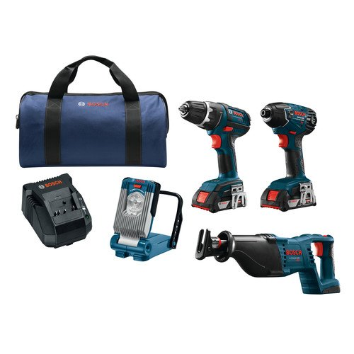 Bosch CLPK495-181 4-Tool 18-Volt Lithium Ion Cordless Combo Kit with Soft Case (Bosch 18 Volt Combo compare prices)