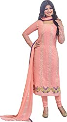 Adorn Mania Pink Heavy Georgette Embroidered salwar Suits Dress Material