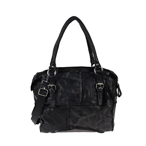 Shopper Tote Bag in pelle A.S.98 Airstep Tracolla Nero Nero Grigio