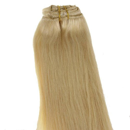 Just Beautiful Hair and Cosmetics Echthaar Clip in Extensions 40 cm / Remy Haarverlängerung, on Tressen - #60 platinblond, 1er Pack (1 x 1 Stück)