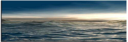 """High Tide"" Modern Digital Artwork of Blue Ocean Waves"