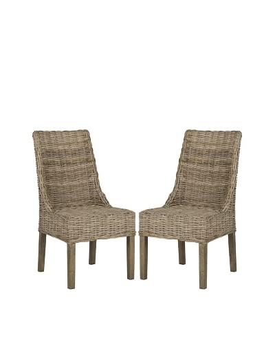 Safavieh Set of 2 Suncoast Arm Chairs, Natural Unfinished