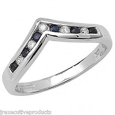 White Gold Sapphire & Diamond Wishbone Eternity Ring (available in sizes J-S)