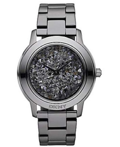 Dkny Ny8466 Women's Large Gunmetal Crystal Watch