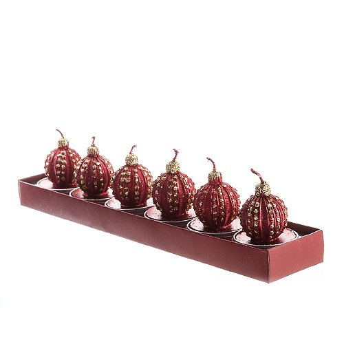 Red Ball Ornament Tea Light Candle Set Of 6