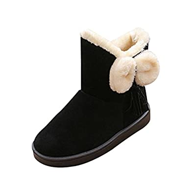 T&Mates Womens Winter Classic Faux Fur Snow Ankle Boots Mid-Calf Bowknot Tassles Flat Shoes