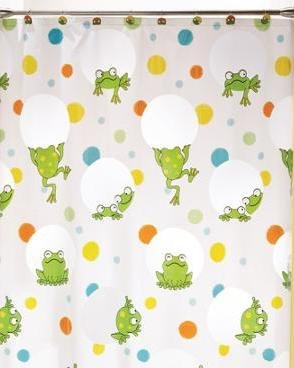 New Peeking Frogs Shower Curtain Waterproof Vinyl Peva Easy Care Green White