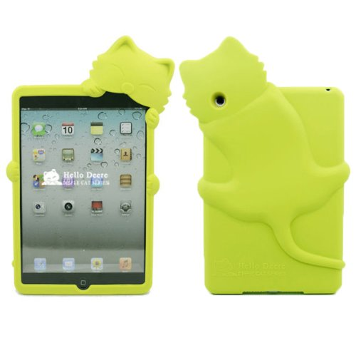 Yuersal Green Cute Animal Shaped Silicone 3D Cat- Gel Silicone Rubber Soft Case Cover Skin For Apple Ipad Mini With Earphone Anti Dust