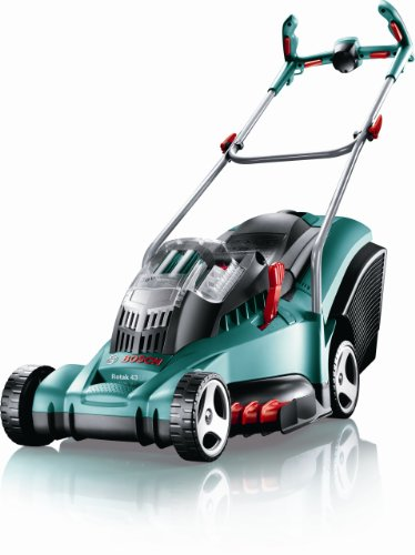 Bosch Rotak 43 LI Ergoflex Cordless Rotary Lawnmower (43 cm Cutting Width) 2 x 36 Volt Li-Ion Batteries