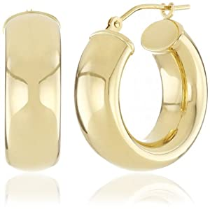 Duragold 14k Yellow Gold Reverse Round Hoop Earrings