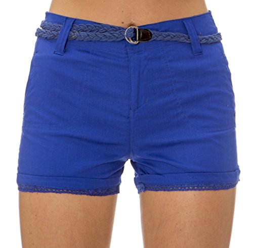 Classic Designs Juniors Belted Stretch Cotton Belted Short with Lace Trim (S-3X)