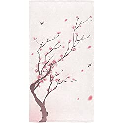 "InterestPrint Japanese Cherry Blossom Pink Sakura Floral Flower Birds in Spring Beach Bath Towels Bathroom Body Shower Towel Bath Wrap For Home Outdoor and Travel Use 30"" x 56"" Inche"
