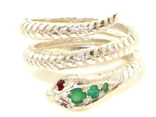 Fabulous Solid White Gold Natural Emerald & Ruby Detailed Snake Ring - Size 9.25 - Finger Sizes 5 to 12 Available